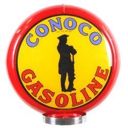 Globe de pompe à essence Conoco Gasoline red