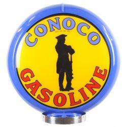 Globe de pompe à essence Conoco Gasoline Blue